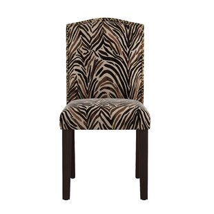 Genevie Nail Button Arched Washed Zebra Side Chair by Bloomsbury Market