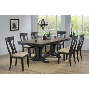 Lou Upholstered 7 Piece Extendable Solid Wood Dining Set