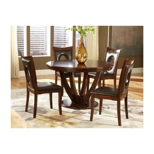 Lakshmi Transitional Wooden Round Pedestal 5 Piece Dining Table Set