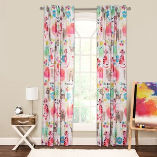 Purrty Cat Wildlife Sheer Rod Pocket Single Curtain Panel