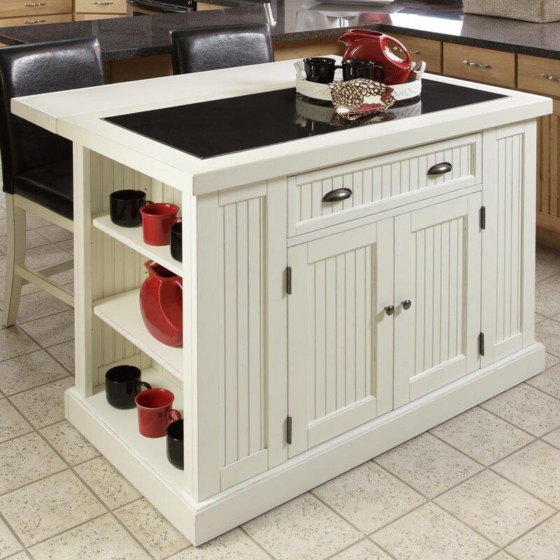 Beautiful Kitchen Island Table With Granite Top Dark Brown Wood