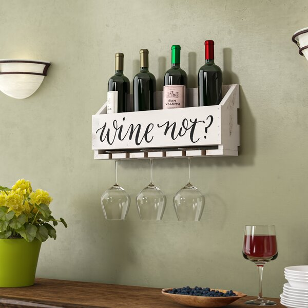 Winston Porter Truluck Wine Not 5 Bottle Wall Mounted Wine Bottle And Glass Rack Reviews Wayfair