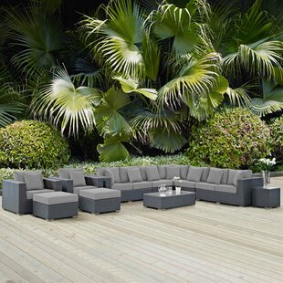 Leda 11 Piece Rattan Sunbrella Sectional Seating Group With Cushions by Brayden Studio Sale