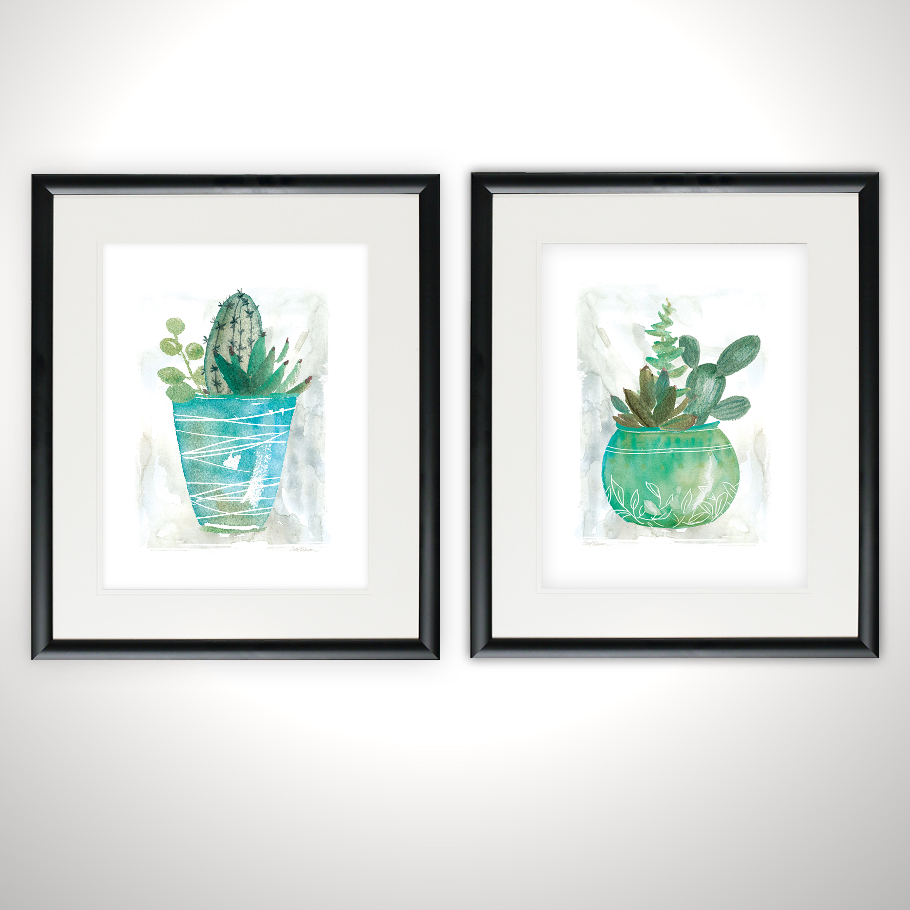 Ivy Bronx Summer Cactus 2 Piece Framed Print Set Wayfair