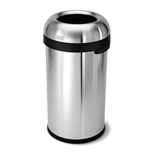 simplehuman 16 Gallon Bullet Open Trash Can, Heavy-Gauge Brushed Stainless Steel