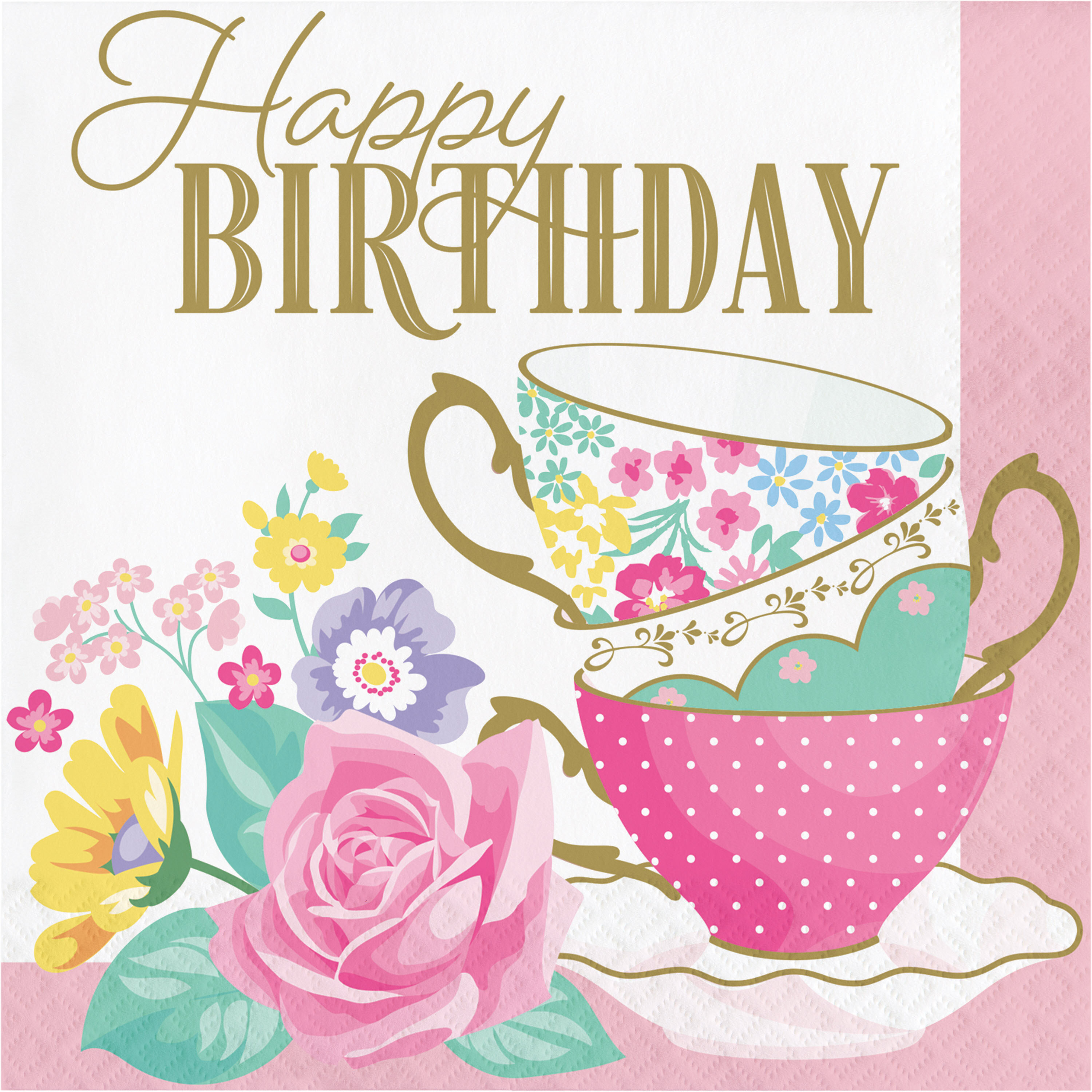 The Party Aisle Floral Tea Party Happy Birthday 6 5 Paper Disposable Napkins Wayfair