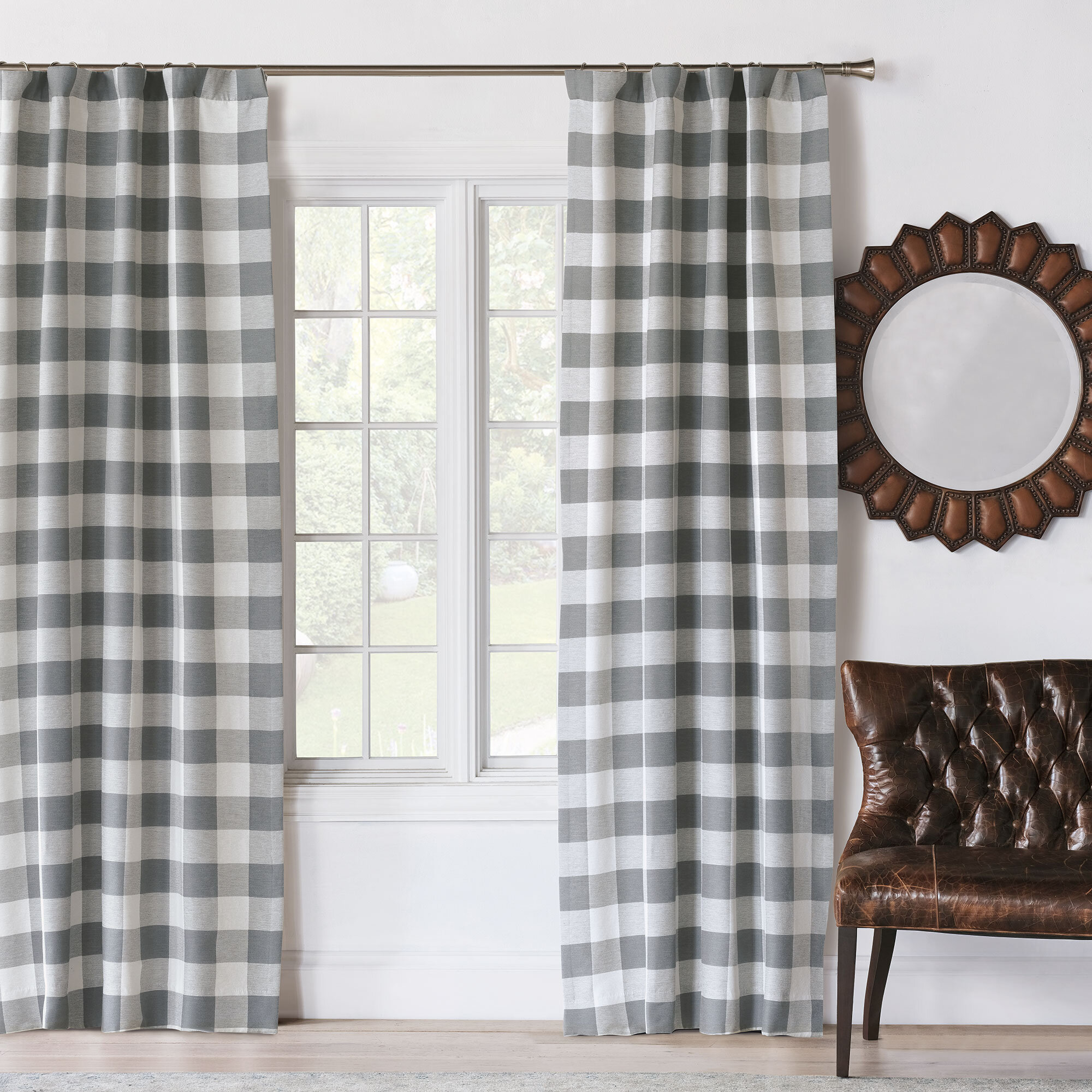 Eastern Accents Hampshire Phipps Slate 100 Cotton Plaid Room Darkening Rod Pocket Single Curtain Panel Perigold