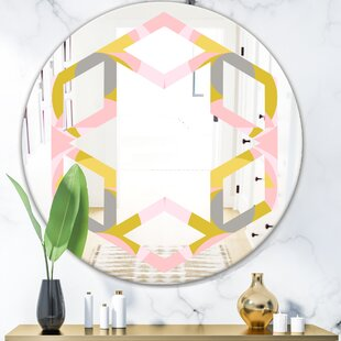 Hexagon Star Pastel Circular Pattern IV Modern Frameless Wall Mirror