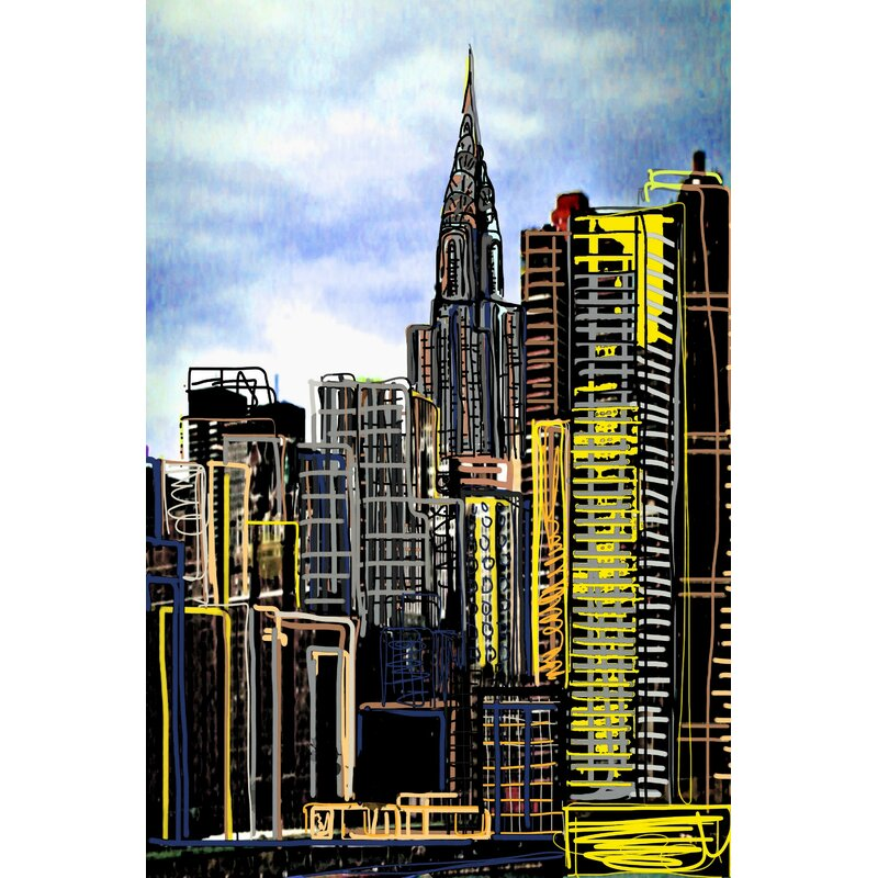 Marmont Hill Urban Sketch Night Painting Print On Wrapped Canvas Wayfair