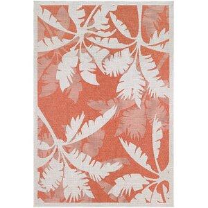Tomie Coastal Flora Ivory/Orange Indoor/Outdoor Area Rug