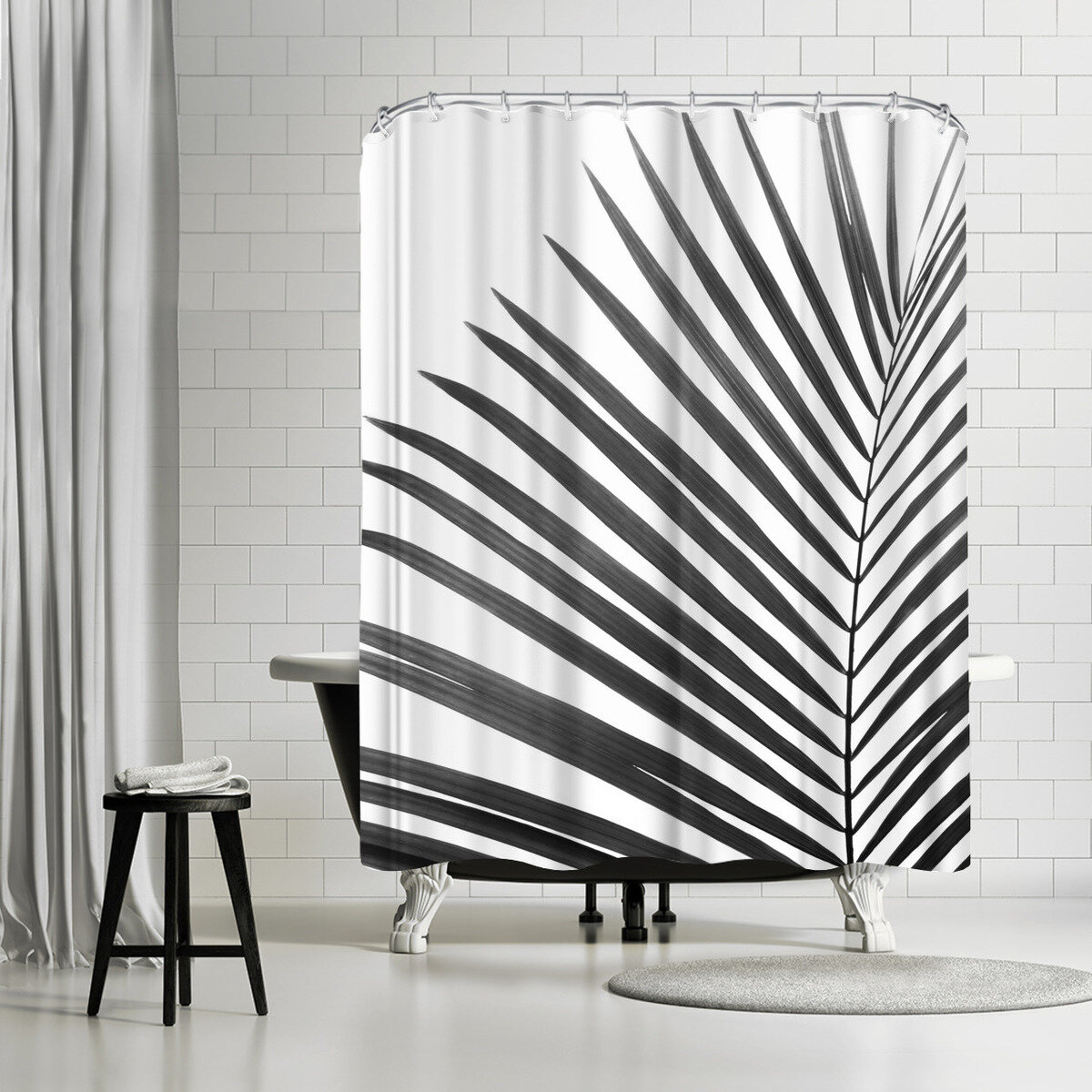 East Urban Home Sisi And Seb Palm Leaf Single Shower Curtain Wayfair