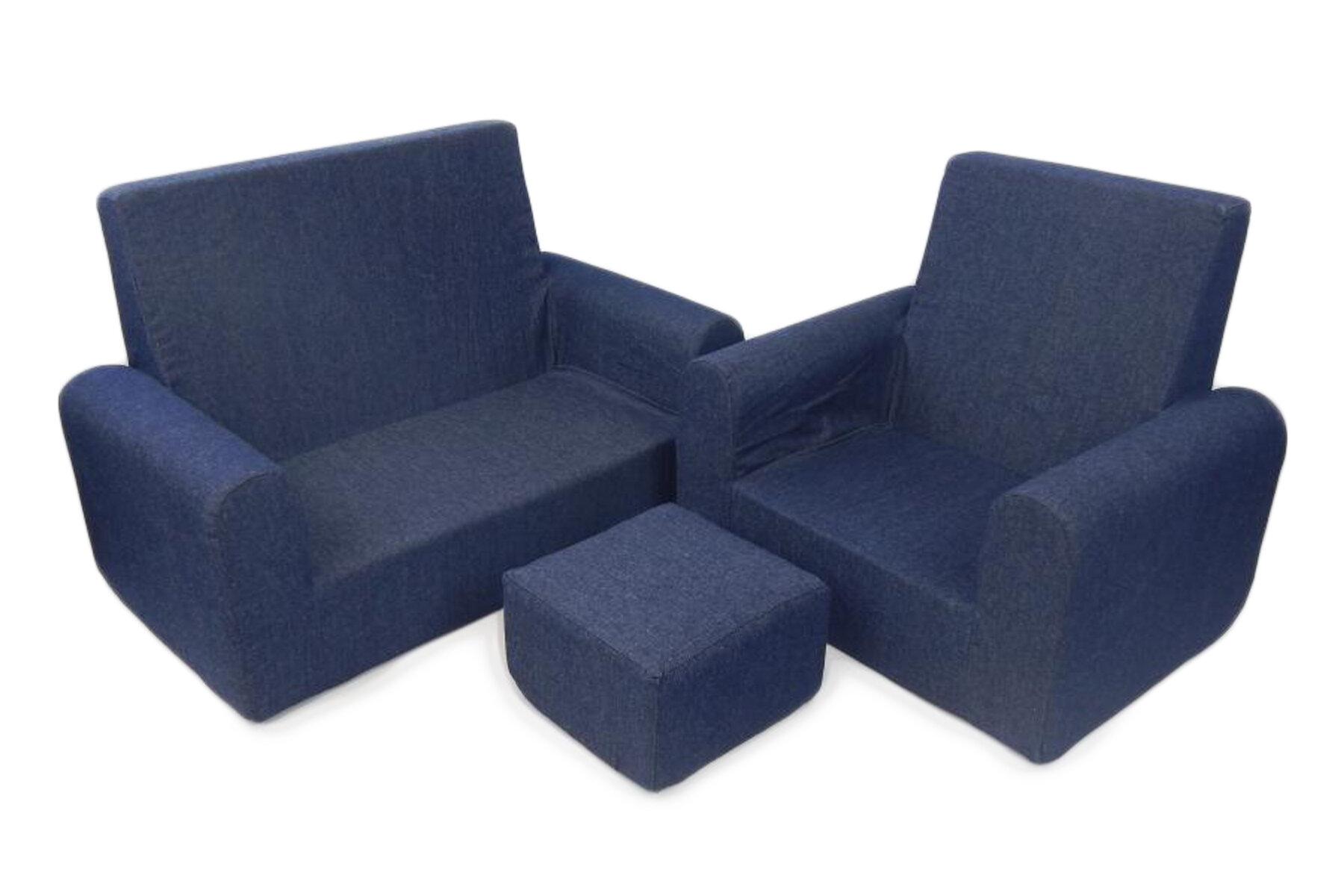 Fun Furnishings 3 Piece Kids Sofa Chair And Ottoman Set Reviews
