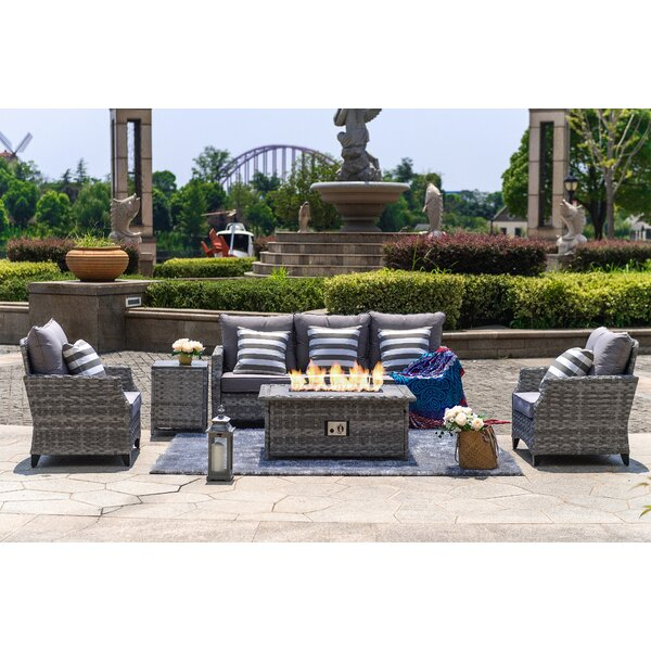 Rosecliff Heights Dias 5 Piece Rattan Sofa Seating Group With Cushions Reviews Wayfair