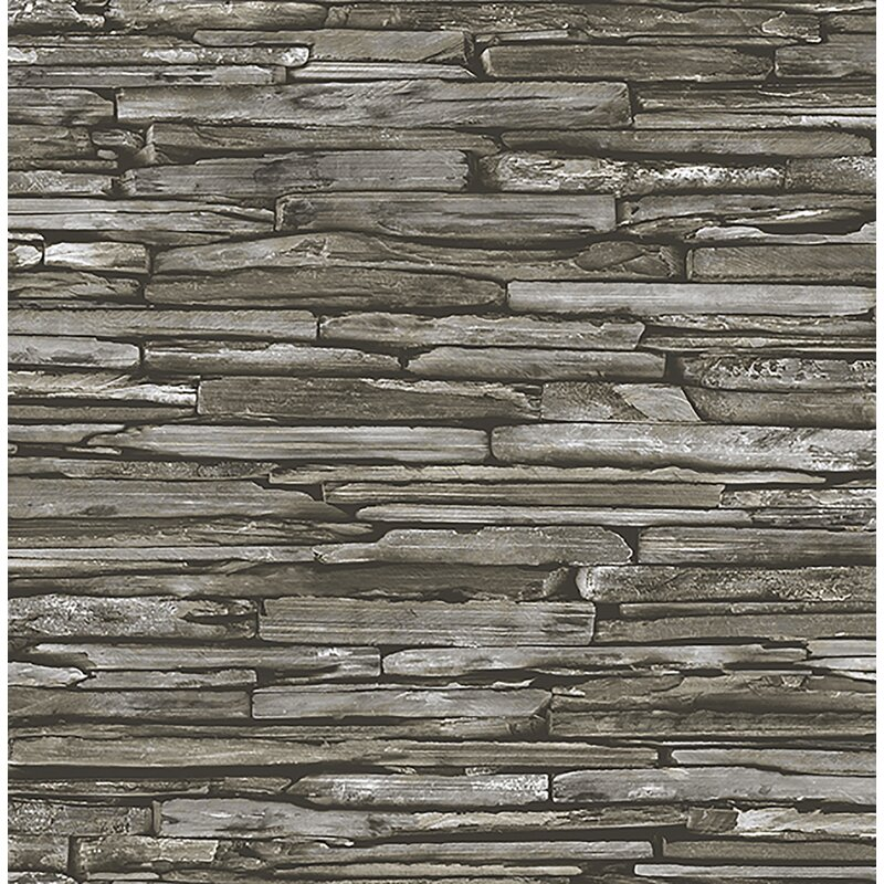 """Brewster Home Fashions Stacked Slate Industrial 2' x 20.5"""" Wallpaper"""