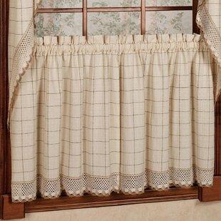 Burrigan Cotton Kitchen Window Cafe Curtain (Set of 2)