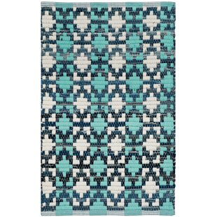 Inexpensive Saleem Hand-Woven Turquoise Area Rug ByBungalow Rose