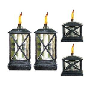 TIKI Brand 4 Piece Beacon Metal Petite Lantern Tabletop Torch Set