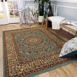 Wotring Maxy Home Medallion Traditional Ocean Blue Runner Area Rug