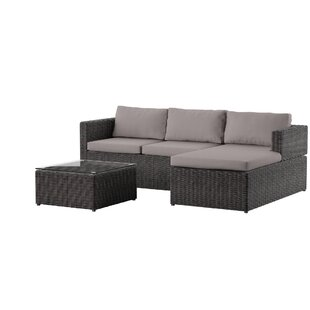 Carbone 3 Piece Rattan Sectional Set with Cushions by Mercury Row