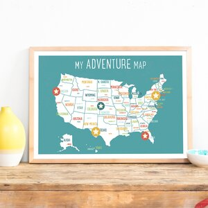 USA Personalized Adventure Map Paper Print