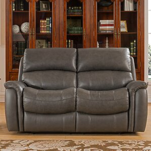Forbes Leather Reclining Loveseat by Red Bar..