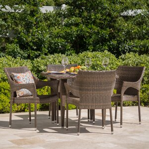Gia Outdoor Wicker 5 Piece Dining Set