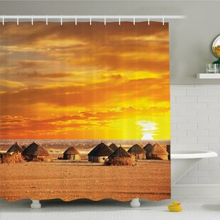 Nash, African Landscape of a Small Town with Horizon Skyline at Dawn Ethiopian Photo Shower Curtain Set