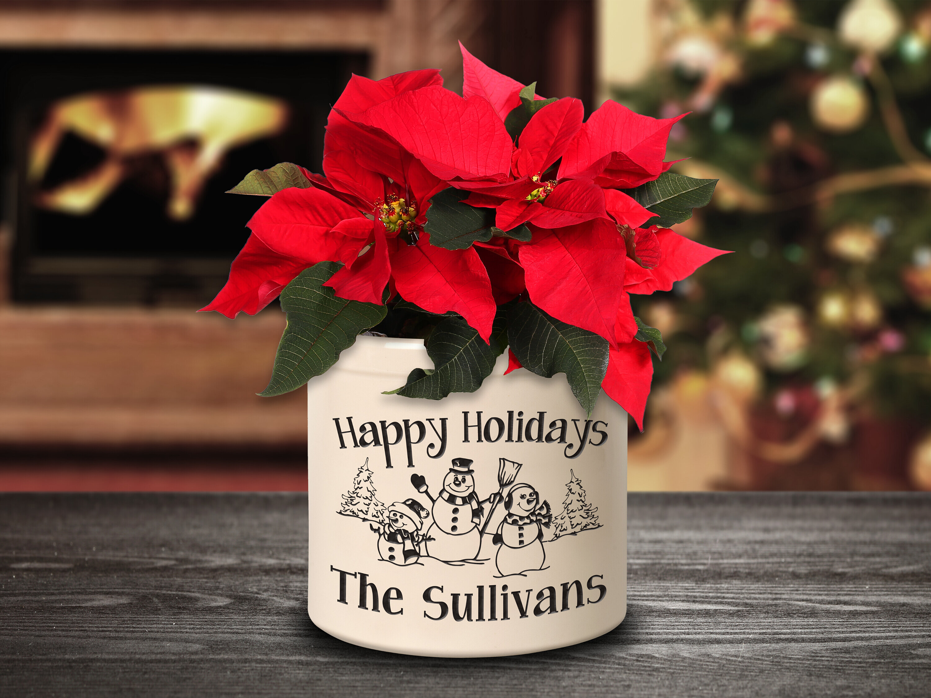 The Holiday Aisle Southwick Personalized Snowman Family Ceramic Pot Planter Wayfair