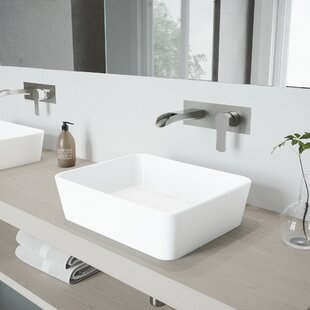 Inexpensive Marigold Stone Rectangular Vessel Bathroom Sink with Faucet By VIGO