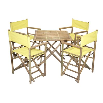 5 Piece Dining Set Bamboo54 Color: Yellow
