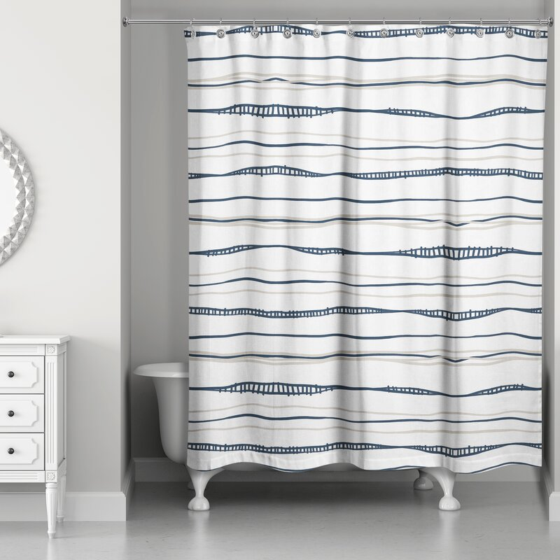 17 Stories  Fanette Wavy Single Shower Curtain