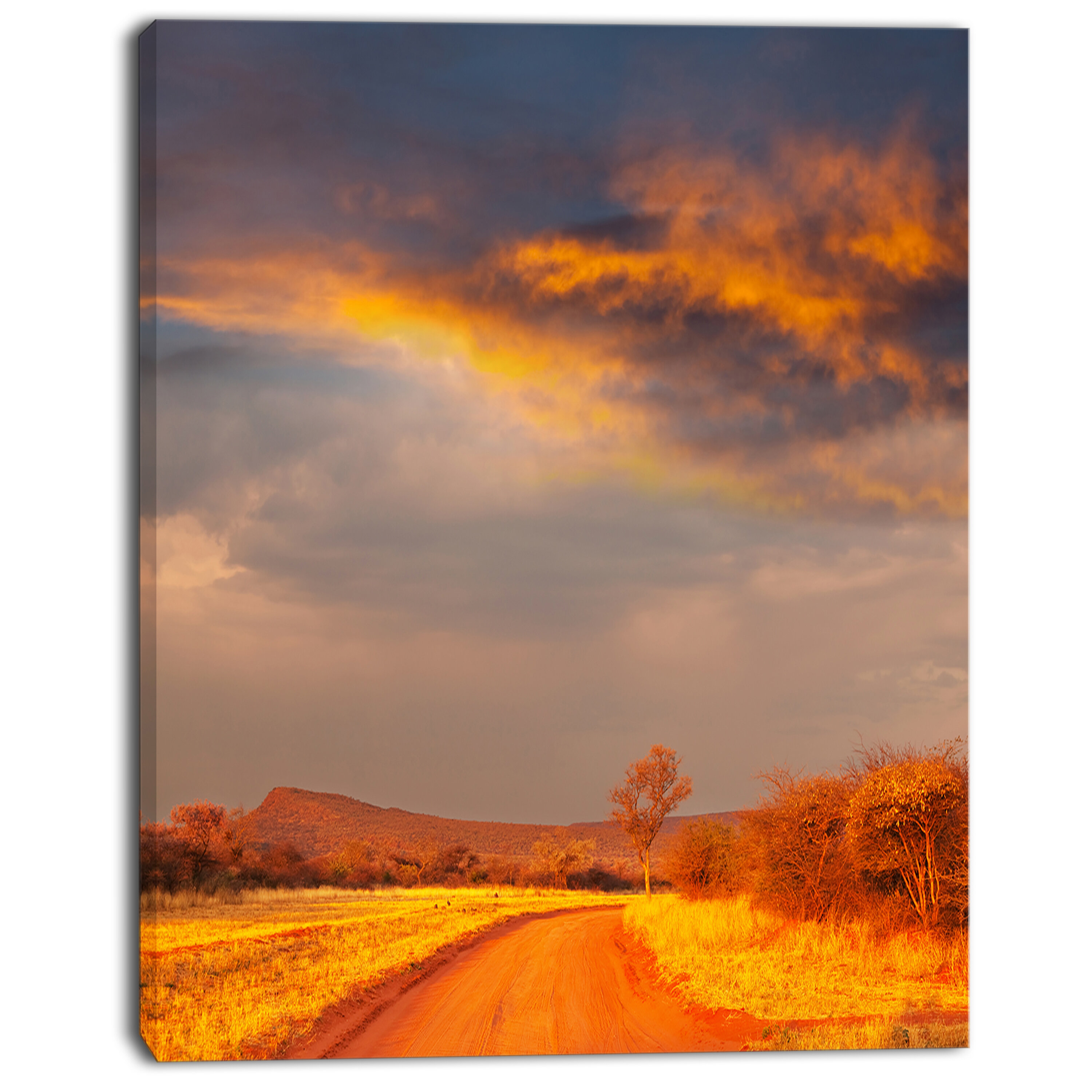 Designart Fantastic Road And Sky In Kenya Photographic Print On Wrapped Canvas Wayfair