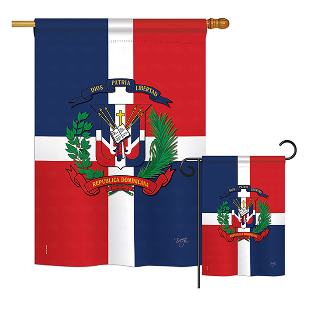 Breeze Decor 2 Piece Dominican Republic Of The World Nationality Impressions Decorative Vertical 2 Sided Polyester Flag Set Wayfair