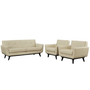 Corrigan Studio Saginaw Leather 3 Piece Living Room Set