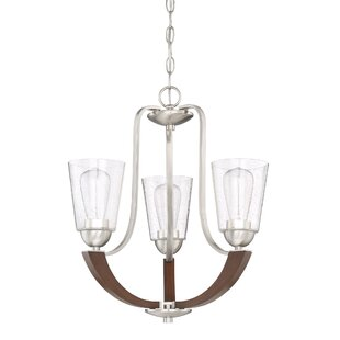 Chryses Brushed Nickel 3-Light Shaded Chandelier by Loon Peak