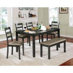 Theriot 6 Piece Solid Wood Dining Set