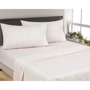 Posen Thin Stripe 300 Thread Count 6 Piece Satin Sheet Set