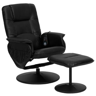 Leather Heated Massage Chair with Ottoman by Latitude Run