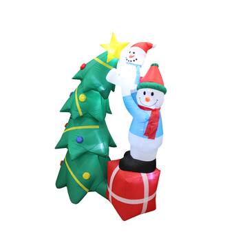 Inflatable Christmas Decorations.Christmas Inflatable Santa Claus With Candy Cane And Dog With Christmas Hat