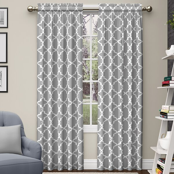 Backstrom Geometric Semi-Sheer Rod Pocket Curtain Panels