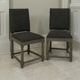 Quan Linen Upholstered SideChair Weathering Ash (Set of 2) by Alcott Hill®