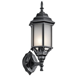 Online Reviews Bayou Traditional 1-Light Outdoor Glass Shade Wall Lantern By Three Posts