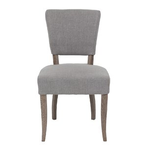 Cronk Linen Upholstered Parsons Chair in Gray Set of 2