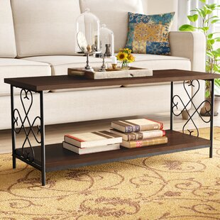 Brundrett Coffee Table with Storage Shelf Fleur De Lis Living