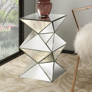 Read Reviews Eswer Mirrored Pedestal End Table By Everly Quinn