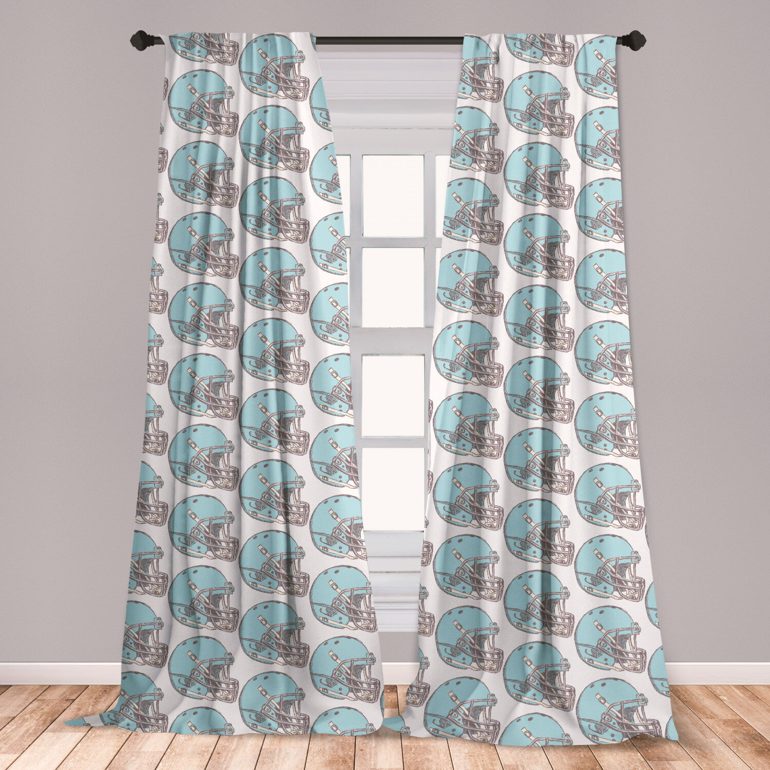 East Urban Home Ambesonne American Football Curtains Sketchy Style Safety Protection Vintage Pattern American Athletics Window Treatments 2 Panel Set For Living Room Bedroom Decor 56 X 63 Aqua Grey Cream Wayfair