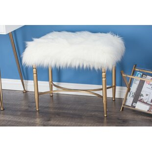 Askerby Metal Faux Fur Accent Stool