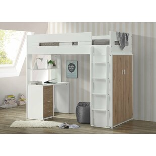 Affordable Adne Wooden Twin Bed with Desk Shelf and Wardrobe ByMack & Milo