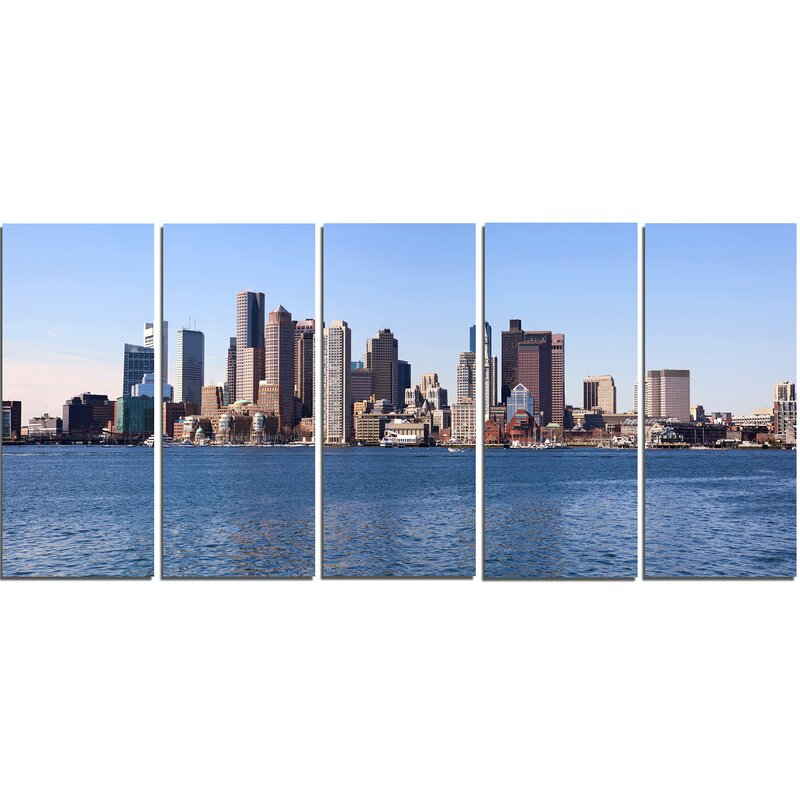 Boston Skyline Panorama 5 Piece Wall Art On Wrapped Canvas Set