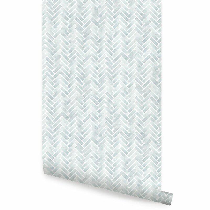 Bayou Breeze Magellan Watercolor Herringbone Paintable Peel And Stick Wallpaper Panel Reviews Wayfair